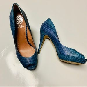Vince Camuto Blue Python Open Toe Pumps